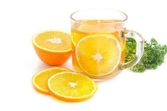 Orange tea med den nya orange skivan Royaltyfria Foton