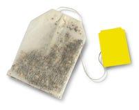 Teabag με την κίτρινη ετικέτα στοκ εικόνα
