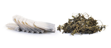Teabag and dry tea Isolated on white background Royalty Free Stock Photo