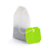 Teabag with green label Royalty Free Stock Photos