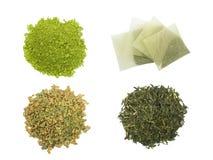 Teabag with green tea powder Stock Photo
