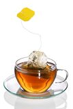 Teabag splashing into cup of tea Stock Photos