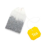 Teabag with yellow label Stock Photo