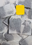 Teabags. Tea bags and Yellow Label Stock Photos