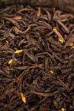 Teabags - Tea bag. Black Tea background, texture dry leaves, tea scented with bergamot oil Macro background Royalty Free Stock Image