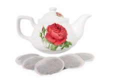 Teabags and teapot tea bag ceramic porcelain Royalty Free Stock Photography