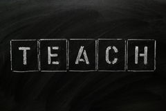 Teach. The word TEACH in stencil letters on a blackboard royalty free stock photos