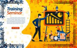 Teach business for beginners. seminar for entrepreneur training and increasing sales, concept vector ilustration. can use for land. Ing page, template, ui, web royalty free illustration