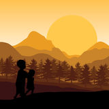 Teach children to watch the sunset , Vector illustrations Royalty Free Stock Photos