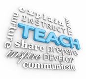 Teach 3d Word Collage Inspire Instruct Train Prepare Nurture. Teach word in 3d letters and word collage with explain, instruct, train, nurture, share, prepare Royalty Free Stock Photo