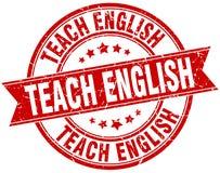 Teach english stamp. Teach english round grunge ribbon stamp isolated on white background Stock Photos