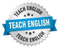 Teach english round isolated badge. Teach english round isolated silver badge Royalty Free Stock Photography
