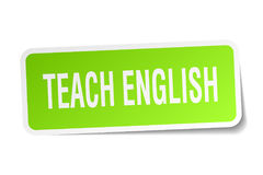 Teach english square sticker. On white Stock Photography