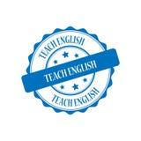 Teach english stamp illustration. Teach english blue stamp seal illustration design Stock Photo