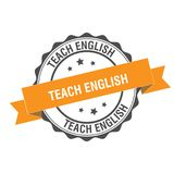 Teach english stamp illustration. Teach english stamp seal illustration design Stock Image
