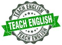 Teach english stamp. Sign. seal Royalty Free Stock Photos
