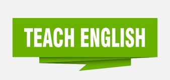 Teach english. Sign.  paper origami speech bubble.  tag.  banner royalty free illustration
