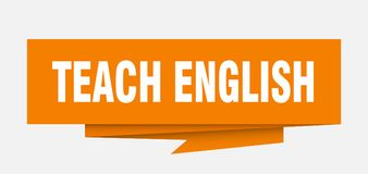 Teach english. Sign.  paper origami speech bubble.  tag.  banner vector illustration