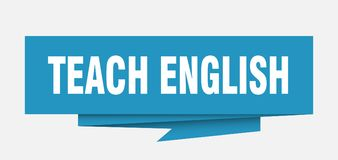 Teach english. Sign.  paper origami speech bubble.  tag.  banner stock illustration