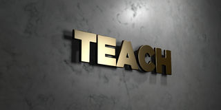 Teach - Gold sign mounted on glossy marble wall  - 3D rendered royalty free stock illustration Royalty Free Stock Image