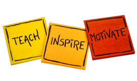 Teach, inspire, motivate concept. Teach, inspire, motivate - a collage of isolated reminder notes stock photo