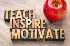 Teach, inspire, motivate concept in wood type. Teach, inspire, motivate concept in vintage letterpress wood type printing blocks with an apple stock image