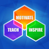 Teach, inspire, motivate in hexagons, flat design. Teach, inspire, motivate - education motivation concept words in color hexagons over blue background, flat Royalty Free Stock Photo