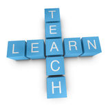 Teach and learn 3D crossword on white background Stock Image