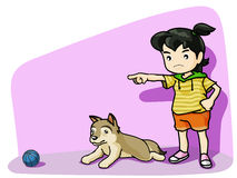 Teach my dog. Go ! fetch that ball to me Royalty Free Illustration