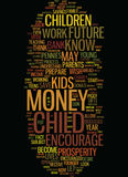 Teach Your Child About Money Text Background  Word Cloud Concept Stock Photo