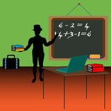 The teacher. Colorful background with male silhouette wearing a hat and writing on the blackboard with a piece of chalk. Teacher teaching mathematics Stock Photo