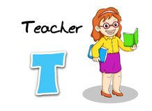 Teacher. Digital illustration of the alphabet of the works. teacher Royalty Free Stock Photography
