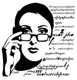 Teacher. Beautiful Woman's face, Stylized Blak And White Vector Graphics Stock Photos