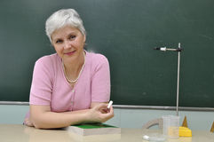 Teacher. School teacher lady at the lesson in the classroom Stock Photo