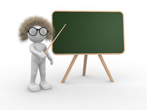Teacher. 3d people - human character pointing on backboard - This is a 3d render illustration Stock Photography