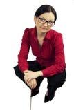 Teacher. Brunette girl in glasses teacher, librarian, strict Royalty Free Stock Photo
