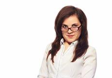 Teacher. Smiling girl on white background Stock Image