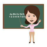 Teacher. Illustration of attractive teacher giving lecture in a classroom Stock Photo