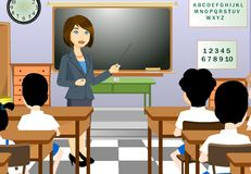 Teacher. Female teacher talks to her students Royalty Free Stock Images