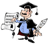 Teacher. With a diploma and a pen in hand Stock Images