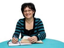 Teacher. Female teacher isolated on white Royalty Free Stock Photos