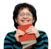 Teacher. Female teacher isolated on white Stock Photo