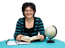 Teacher. Female teacher with books studio isolated Stock Photos