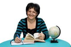Teacher. Female teacher with books studio isolated Stock Photography