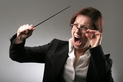 Teacher 56. A portrait of bad teacher with a stick stock image