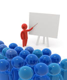 Teacher. Standing with pointer in hand close to board. Board is empty - ready for montage of desired content Stock Photos
