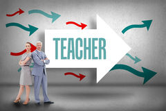 Teacher against arrows pointing Royalty Free Stock Image
