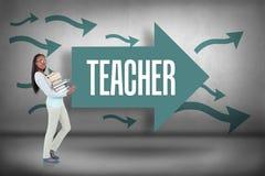 Teacher against arrows pointing Stock Photo