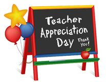 Teacher Appreciation Day, Thank You! Stars, Balloons, Chalkboard Easel for Children