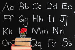 Teacher appreciation - rose & chalkboard. Rose in vase on textbooks with chalboard in background - teacher appreciation Royalty Free Stock Photography